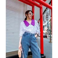 Retro Collar Shirts - Purple