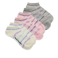 Basic Ankle Sock In Grey/Yellow/Pink